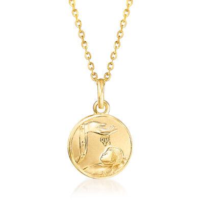 18kt Yellow Gold Baptism Pendant Necklace, , default