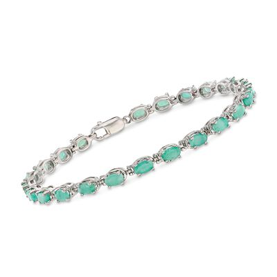 4.30 ct. t.w. Emerald Bracelet in Sterling Silver, , default