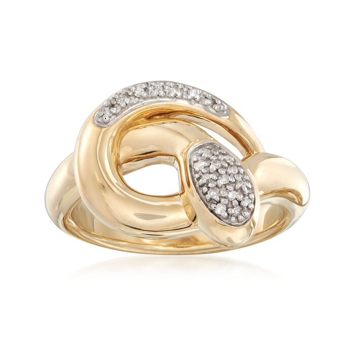 14kt Yellow Gold Snake Ring with Diamond Accents, , default