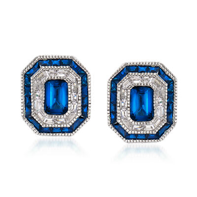 Simulated Sapphire and .50 ct. t.w. CZ Stud Earrings in Sterling Silver, , default