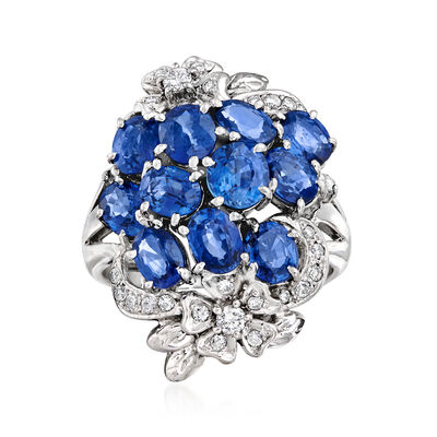 C. 1980 Vintage 4.37 ct. t.w. Sapphire and .29 ct. t.w. Diamond Flower Cluster Ring in Platinum, , default