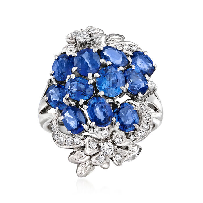 C. 1980 Vintage 4.37 ct. t.w. Sapphire and .29 ct. t.w. Diamond Flower Cluster Ring in Platinum. Size 6.5, , default