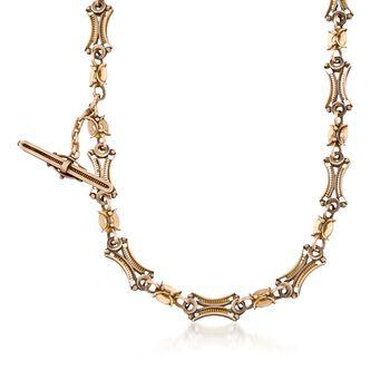 """C. 1940 Vintage 14kt Yellow Gold Industrial Link Necklace/Bracelet. 18"""", , default"""
