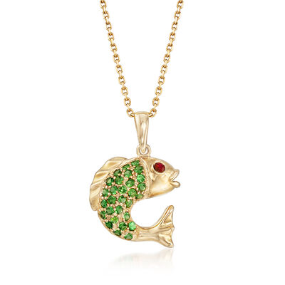 .30 ct. t.w. Tsavorite Fish Pendant Necklace with Ruby Accent in 14kt Yellow Gold, , default