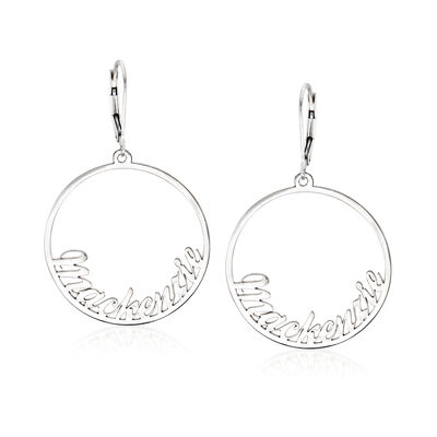 Sterling Silver Personalized Name Circle Drop Earrings