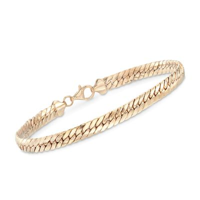 18kt Yellow Gold Over Sterling Silver Flat Cuban-Link Bracelet, , default