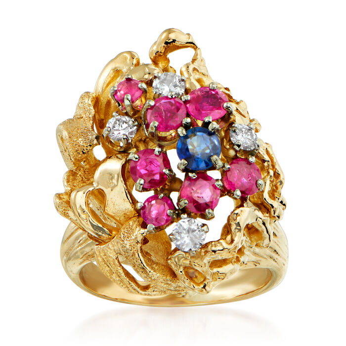 C. 1970 Vintage 1.85 ct. t.w. Multi-Gemstone and .35 ct. t.w. Diamond Cluster Ring in 14kt Yellow Gold