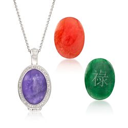 Multicolored Interchangeable Oval Jade Cabochon Pendant Necklace With .30 ct. t.w. White Topaz in Sterling, , default