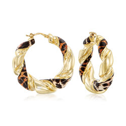 Italian Leopard-Print Enamel Hoop Earrings in 18kt Gold Over Sterling, , default