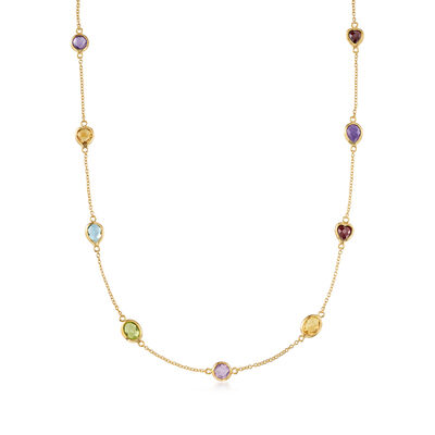 8.40 ct. t.w. Multi-Stone Station Necklace in 18kt Gold Over Sterling
