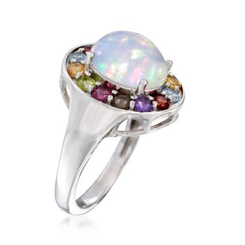 Opal and 1.00 ct. t.w. Multi-Stone Ring in Sterling Silver, , default