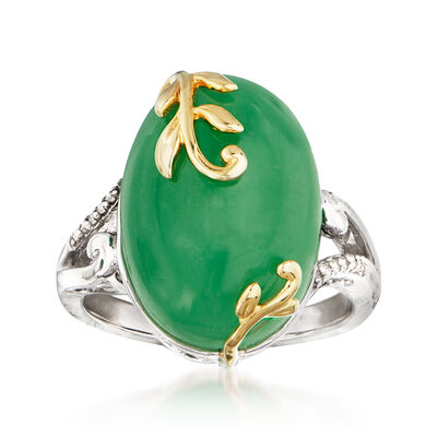 Jade Ring with Diamond Accents in Sterling Silver with 14kt Yellow Gold