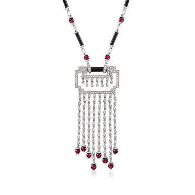 C. 2000 Vintage 7.00 ct. t.w. Garnet, 2.00 ct. t.w. Diamond and Black Onyx Geometric Necklace in 18kt White Gold, , default