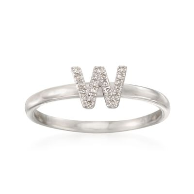 "Diamond Accent Mini Initial ""W"" Ring in Sterling Silver, , default"