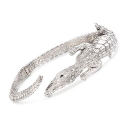 Italian 14kt White Gold Alligator Cuff Bracelet With Emerald Accents, , default