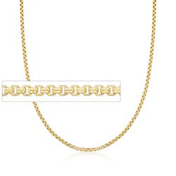 2.4mm 14kt Yellow Gold Box Chain Necklace, , default