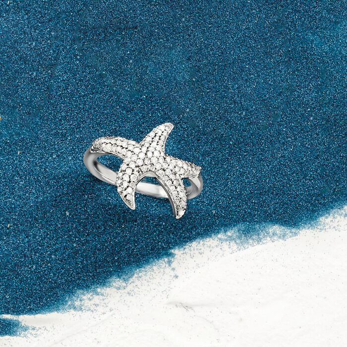 .50 ct. t.w. Diamond Starfish Ring in Sterling Silver