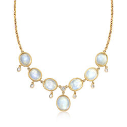 C. 1970 Vintage Moonstone and .60 ct. t.w. Diamond Necklace, , default