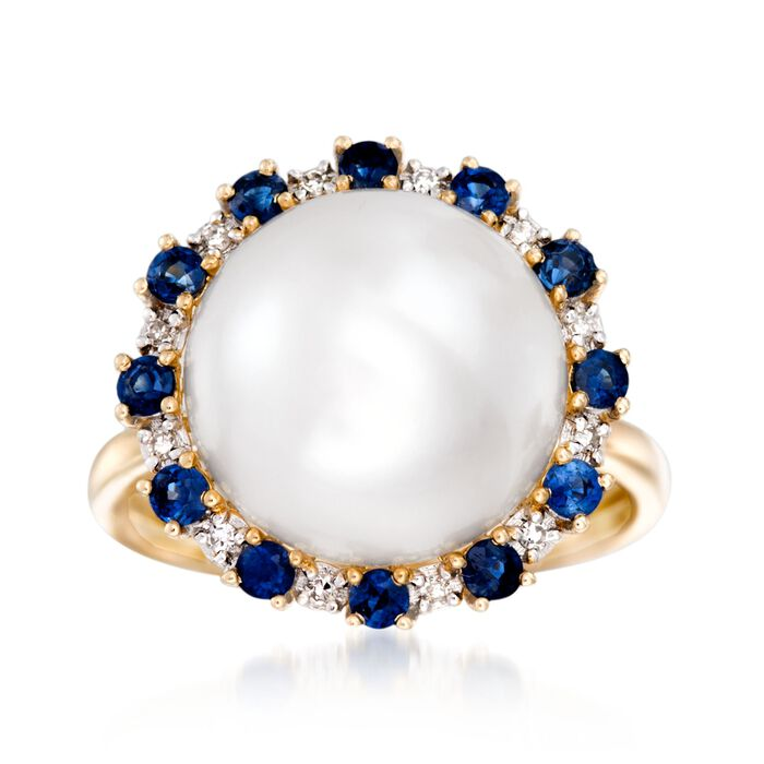 12.5-13mm Cultured Button Pearl and .60 ct. t.w. Sapphire Ring with Diamonds in 14kt Yellow Gold, , default
