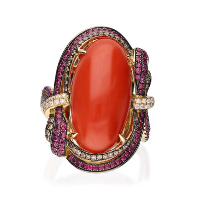 Red Coral Ring with .46 ct. t.w. Multicolored Diamonds and .40 ct. t.w. Rubies in 18kt Yellow Gold
