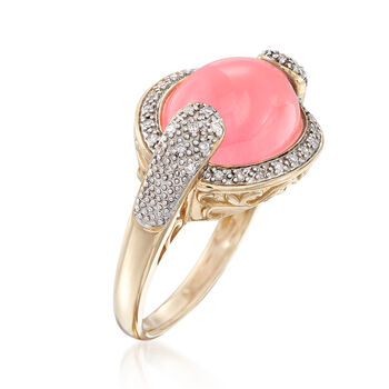 Pink Jade and .13 ct. t.w. Diamond Ring in 14kt Yellow Gold, , default