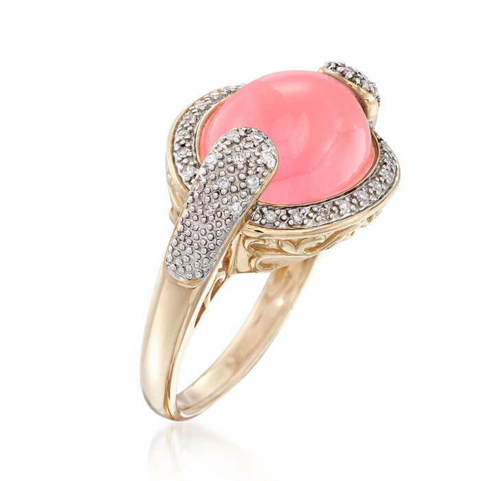 Pink Jade and .13 ct. t.w. Diamond Ring in 14kt Yellow Gold