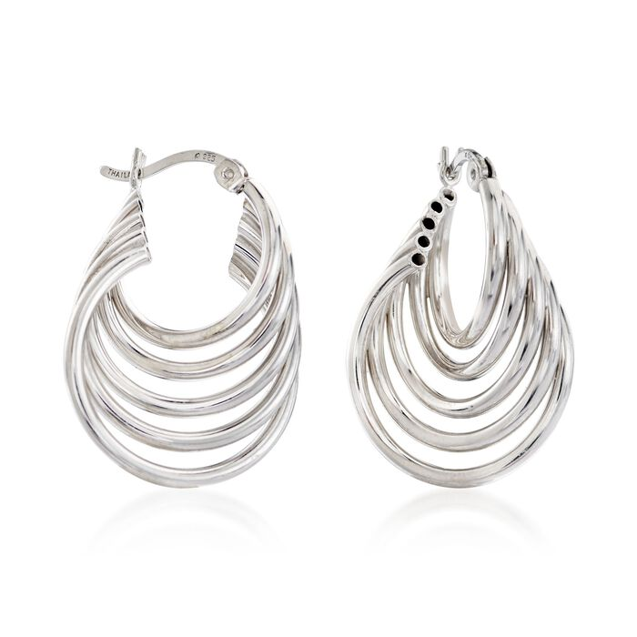 Sterling Silver Twisted Multi-Hoop Earrings. 1""