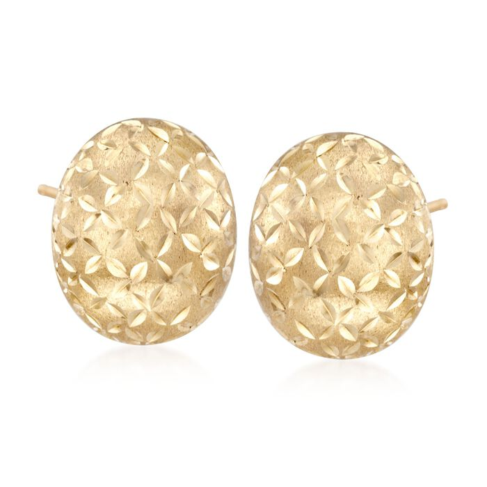 14kt Yellow Gold Brushed and Faceted Dome Earrings