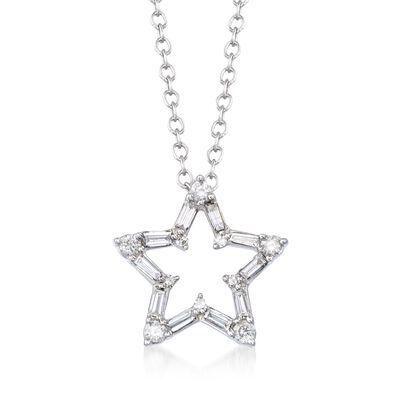 .25 ct. t.w. Baguette and Round Diamond Open Star Pendant Necklace in 14kt White Gold, , default