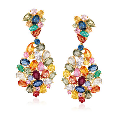 25.00 ct. t.w. Multicolored Sapphire and 1.50 ct. t.w. Ruby Drop Earrings in 18kt Yellow Gold, , default
