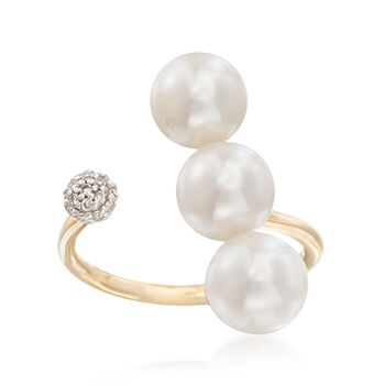 7mm Cultured Three-Pearl Open Ring With Diamond Accents in 14kt Yellow Gold, , default