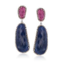 64.50 ct. t.w. Pink and Blue Sapphire Earrings With Champagne Diamonds in Sterling Silver, , default