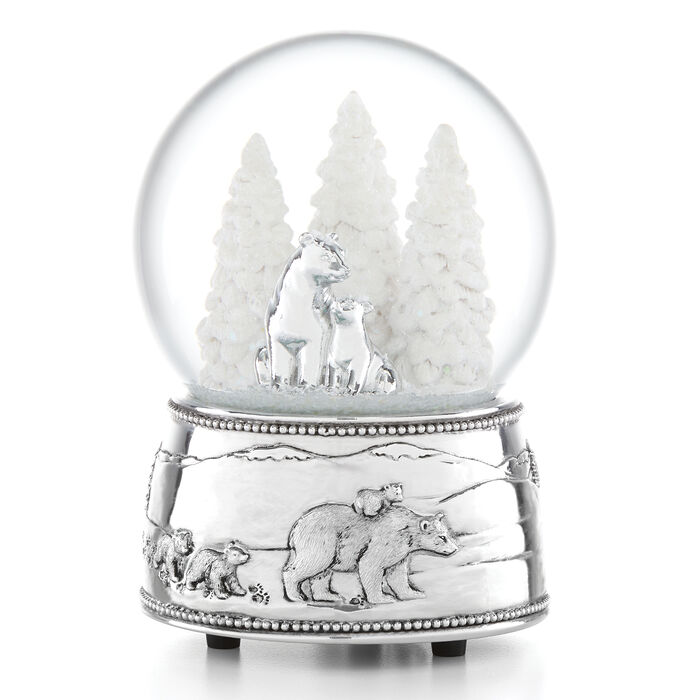 Reed & Barton 2019 Polar Bear and Cubs Musical Snow Globe