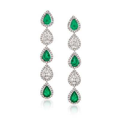 3.70 ct. t.w. Emerald and 2.19 ct. t.w. Diamond Drop Earrings in 18kt White Gold, , default