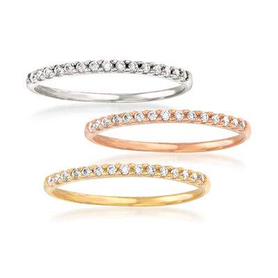 .30 ct. t.w. CZ Jewelry Set: Three Rings in 14kt Tri-Colored Gold