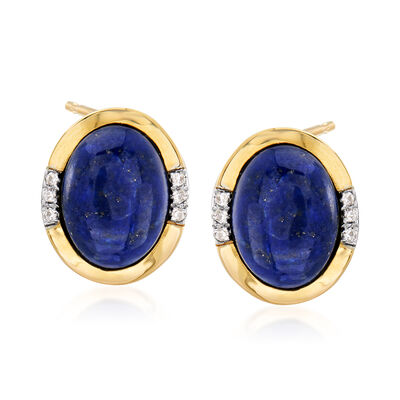 Lapis and Diamond-Accented Earrings in 14kt Yellow Gold, , default