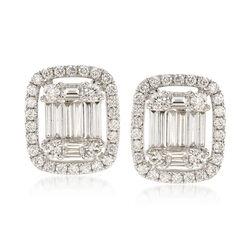 C. 2000 Vintage 2.15 ct. t.w.  Diamond Cluster Earrings in 18kt White Gold, , default