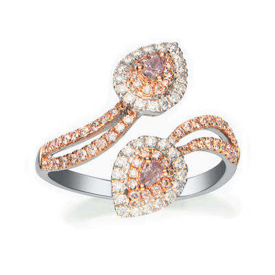 .66 ct. t.w. Pink and White Diamond Bypass Ring in 18kt Two-Tone Gold