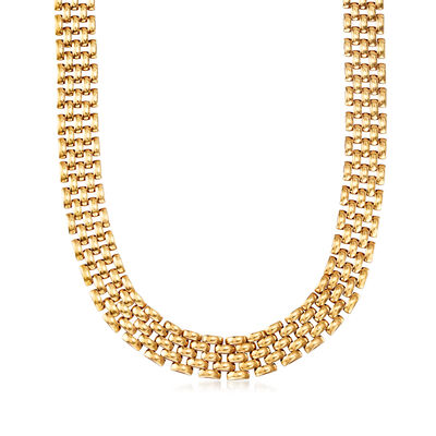 C. 1980 Vintage 14kt Yellow Gold Panther-Link Necklace, , default