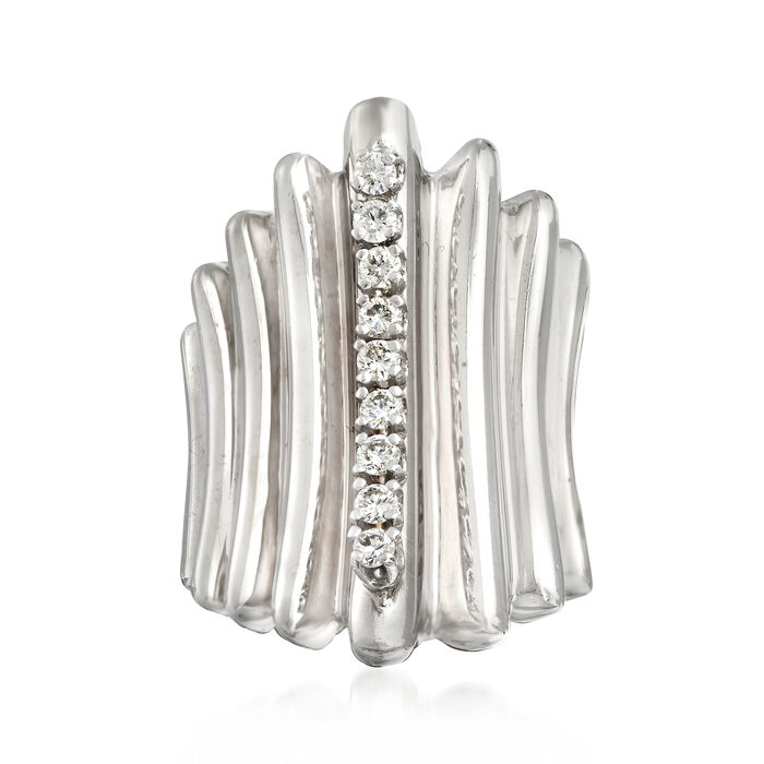 C. 1970 Vintage .50 ct. t.w. Diamond Ridged Ring in 14kt White Gold. Size 6, , default