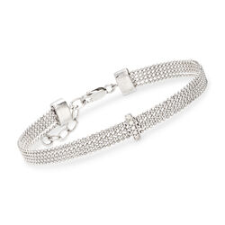 Multi-Row Bead Chain Bracelet With .40 ct. t.w. Diamonds in Sterling Silver, , default