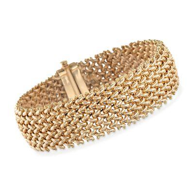 Italian 18kt Yellow Gold Riso Bracelet, , default