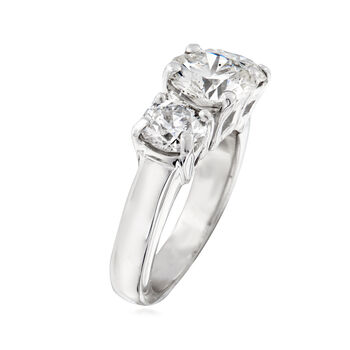 C. 1980 Vintage 3.50 ct. t.w. Diamond Three-Stone Ring in 14kt White Gold. Size 5, , default