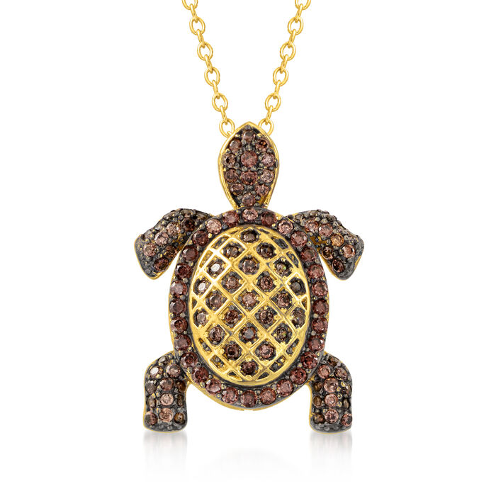 .60 ct. t.w. Brown CZ Turtle Pendant Necklace in 18kt Gold Over Sterling