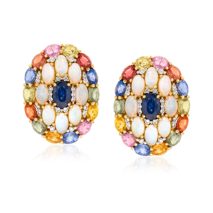 5x3mm Opal, 8.35 ct. t.w. Sapphire and .30 ct. t.w. Diamond Earrings in 18kt Yellow Gold