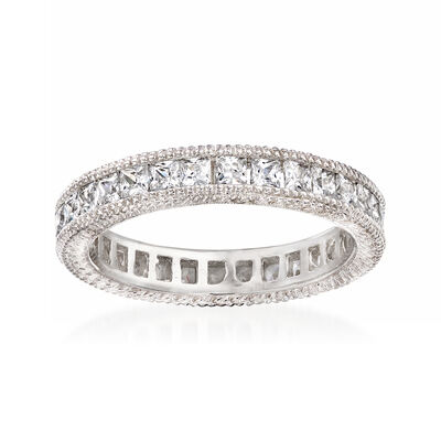 1.40 ct. t.w. CZ Eternity Band in Sterling Silver, , default