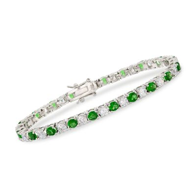 Round Simulated Emerald and 5.70 ct. t.w. CZ Tennis Bracelet in Sterling Silver