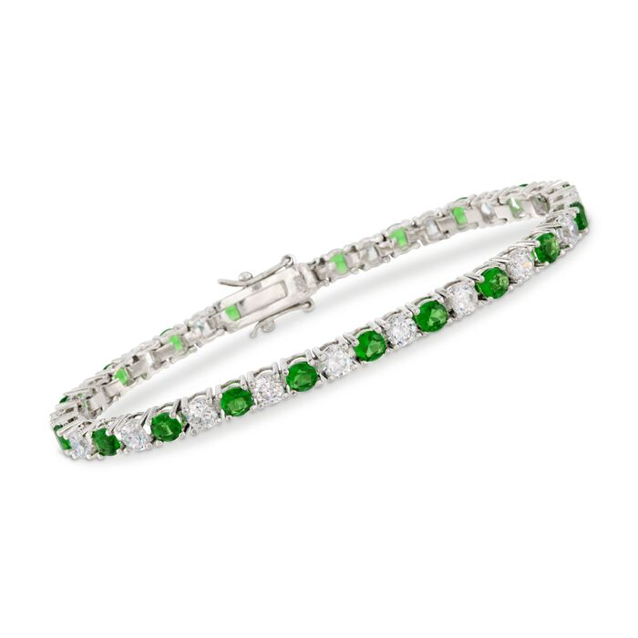 Round Simulated Emerald and 5.70 ct. t.w. CZ Tennis Bracelet in Sterling Silver. 7.5""