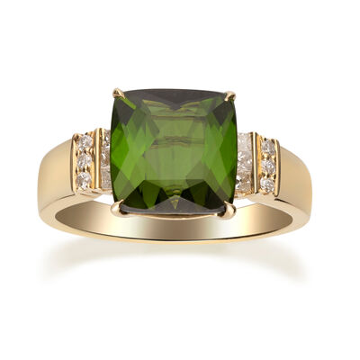 3.60 Carat Green Tourmaline and .21 ct. t.w. Diamond Ring in 14kt Yellow Gold