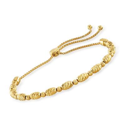 18kt Gold Over Sterling Beaded Bolo Bracelet, , default